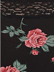 Plus Size Black Floral Wide Lace Cotton Brief Panty, , alternate