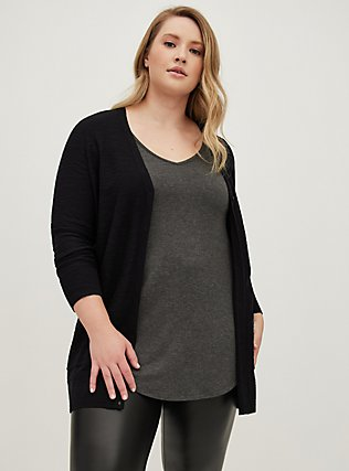 Plus Size Black Slub Boyfriend Pocket Cardigan, DEEP BLACK, alternate