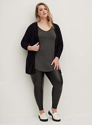 Plus Size Black Slub Boyfriend Pocket Cardigan, DEEP BLACK, hi-res