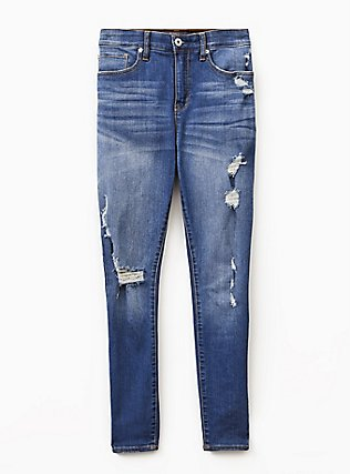 Sky High Skinny Jean - Premium Stretch Medium Wash, HEARTTHROB, flat