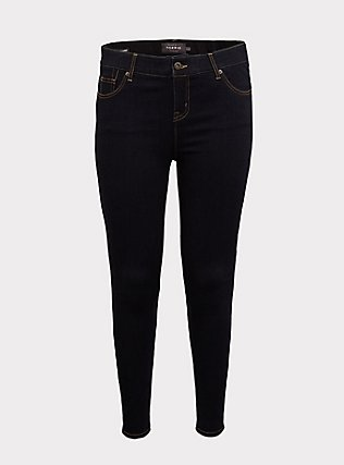 Plus Size Bombshell Skinny Jean - Premium Stretch Dark Wash, NEWCASTLE, flat