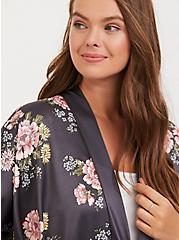 Slate Grey Floral Satin Side-Tie Ruana, , alternate