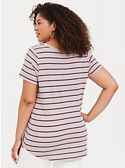 Classic Fit V-Neck Tee - Triblend Jersey Stripe Taupe, STRIPES, alternate