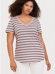 Classic Fit V-Neck Tee - Triblend Jersey Stripe Taupe, STRIPES, hi-res