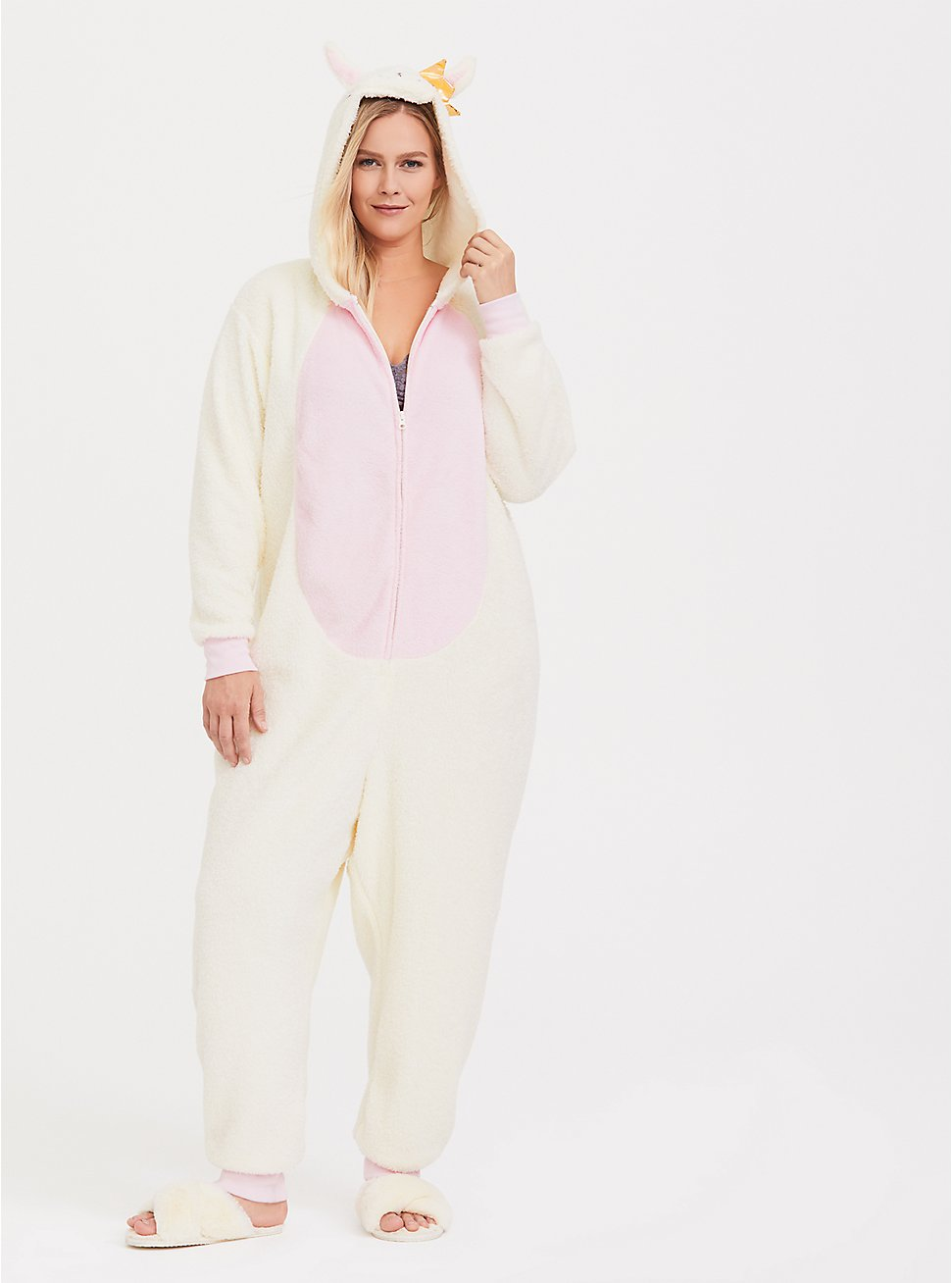 Cream & Pink Llama Fleece Sleep Onesie , MULTI, hi-res