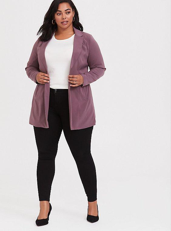 Mauve Purple Longline Blazer, , hi-res