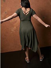 Super Soft Olive Green Handkerchief Skater Dress, DEEP DEPTHS, alternate