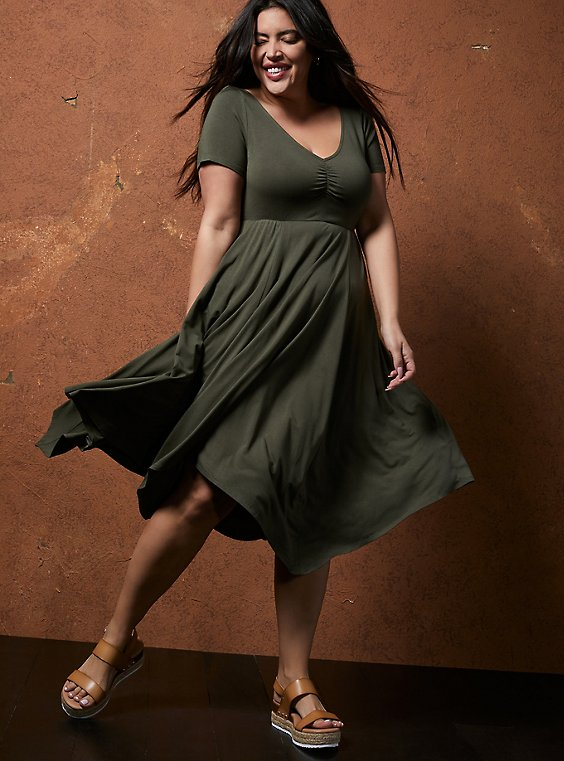 Super Soft Olive Green Handkerchief Skater Dress, , hi-res