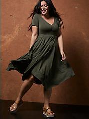 Super Soft Olive Green Handkerchief Skater Dress, DEEP DEPTHS, hi-res