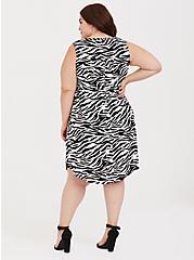 Zebra Stretch Challis Lace-Up Shirt Dress, ZEBRA - BLACK, alternate