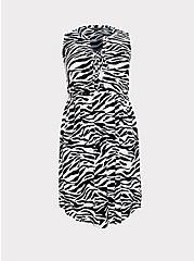 Zebra Stretch Challis Lace-Up Shirt Dress, ZEBRA - BLACK, hi-res