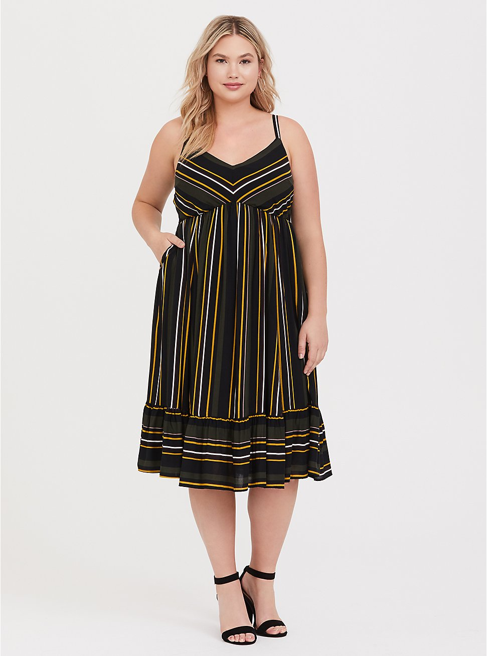 Olive Green & Multi Stripe Challis Midi Dress, STRIPE -BLACK, hi-res