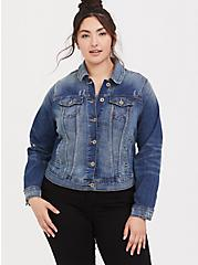 Plus Size Medium Wash Distressed Denim Trucker Jacket, , alternate