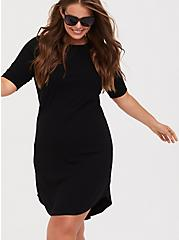 Black Rib T-Shirt Dress, DEEP BLACK, alternate