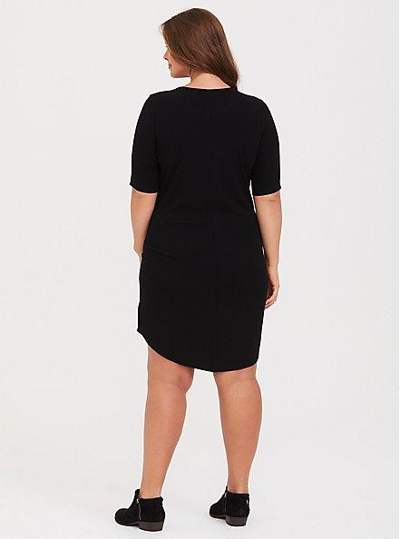 Plus Size Black Rib T-Shirt Dress, DEEP BLACK, alternate