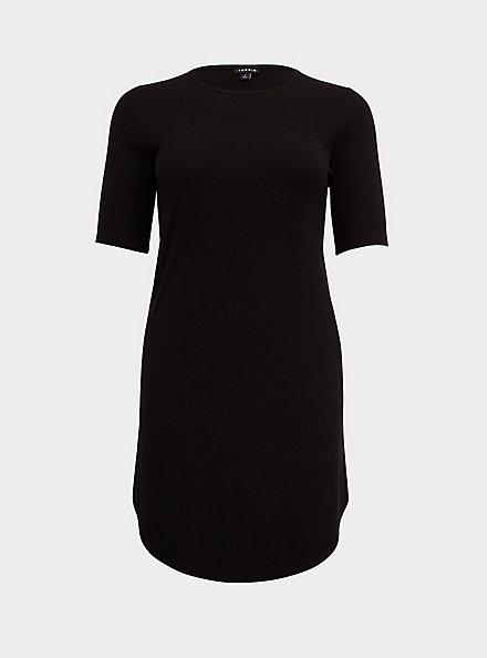 Plus Size Black Rib T-Shirt Dress, DEEP BLACK, hi-res