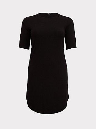 Black Rib T-Shirt Dress, DEEP BLACK, flat