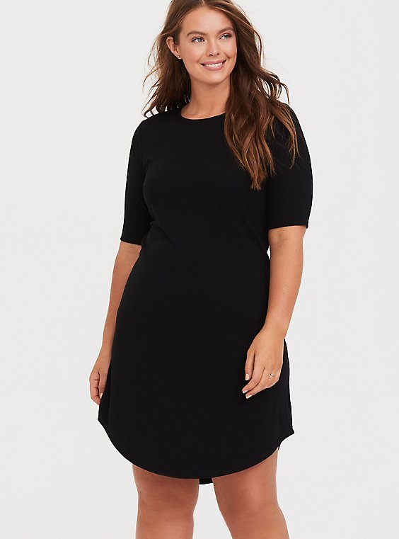 Plus Size Black Rib T-Shirt Dress, , hi-res