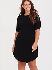 Black Rib T-Shirt Dress, DEEP BLACK, hi-res