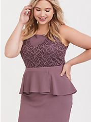 Plus Size Mauve Purple Textured Scuba & Lace Peplum Dress, FLINT, alternate