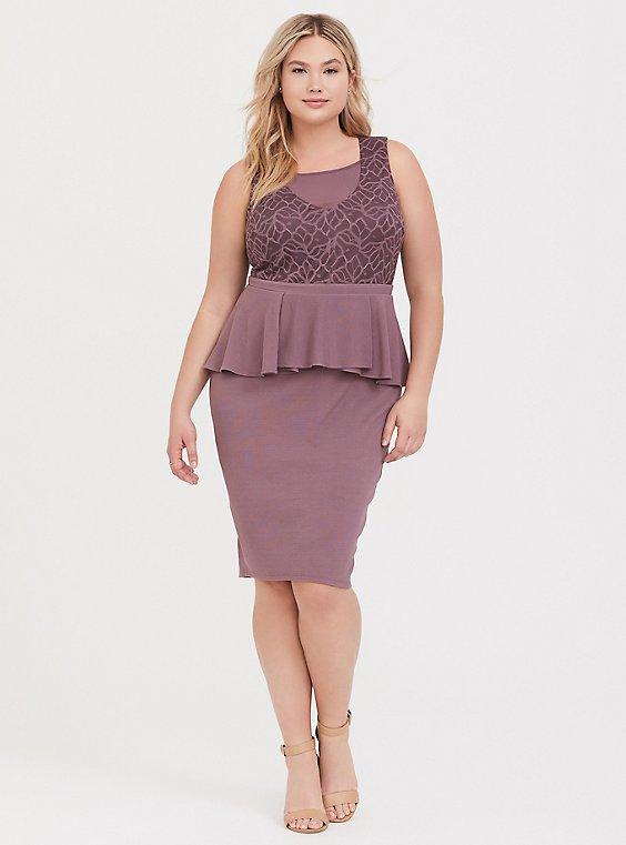 Plus Size Mauve Purple Textured Scuba & Lace Peplum Dress, FLINT, hi-res