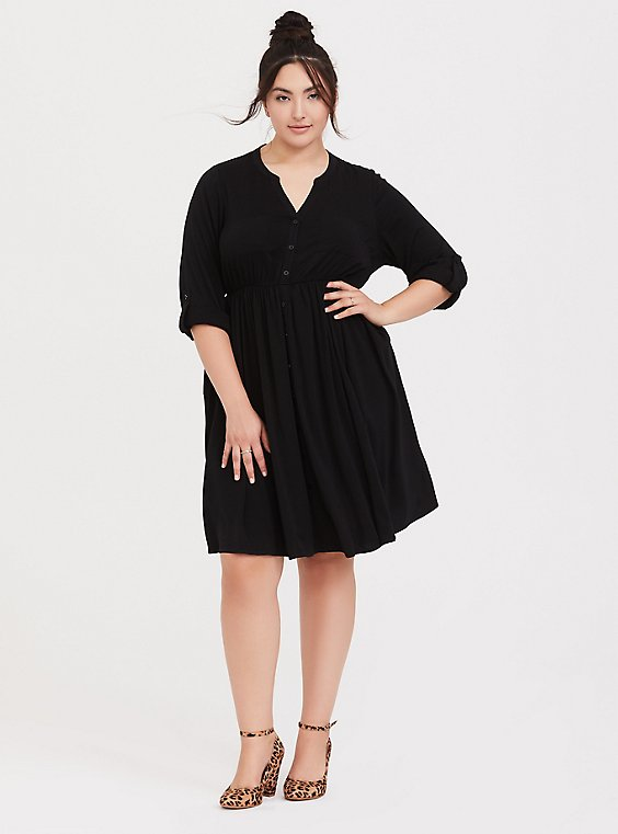 Black Challis Button Front Shirt Dress, , hi-res