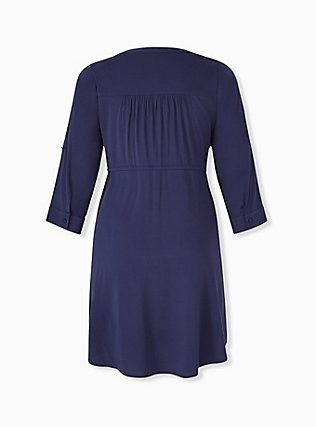Plus Size Navy Drawstring Challis Shirt Dress, PEACOAT, alternate