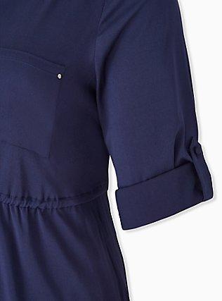 Navy Drawstring Challis Shirt Dress, PEACOAT, alternate