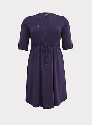 Plus Size Navy Drawstring Challis Shirt Dress, PEACOAT, flat