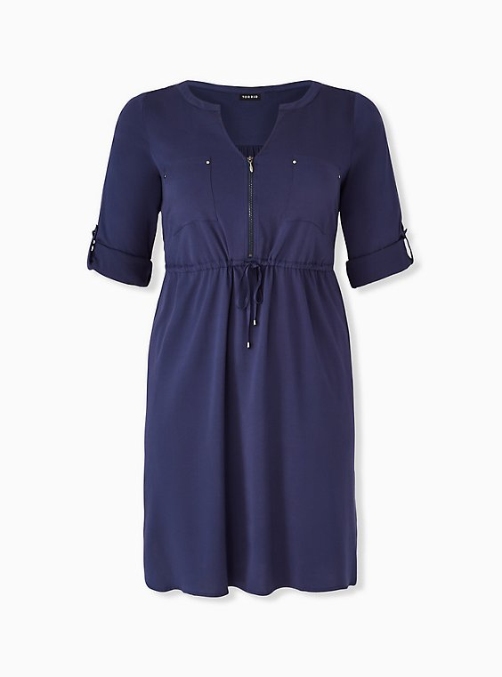 Plus Size Navy Drawstring Challis Shirt Dress, , hi-res