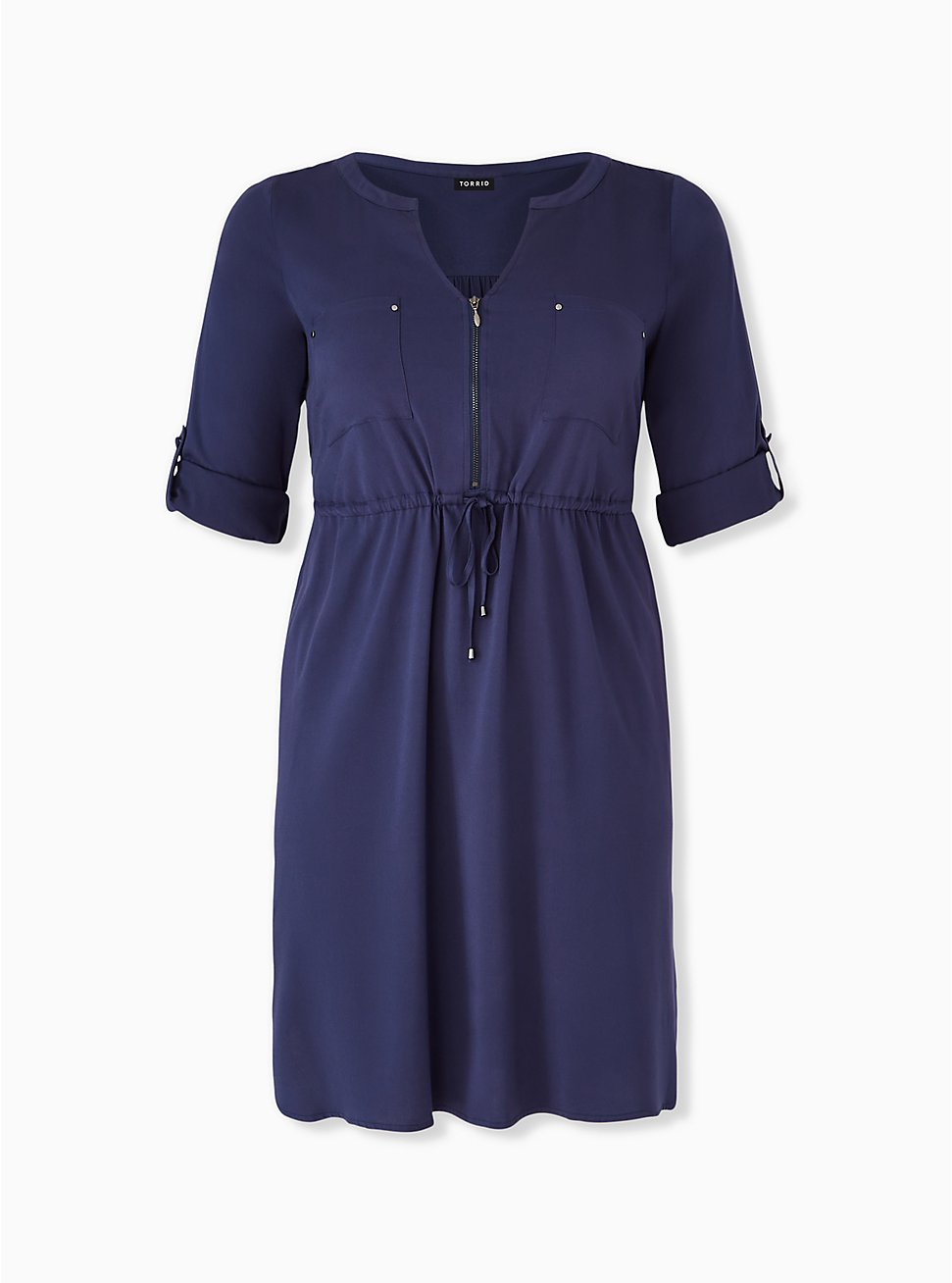 Navy Drawstring Challis Shirt Dress, PEACOAT, hi-res