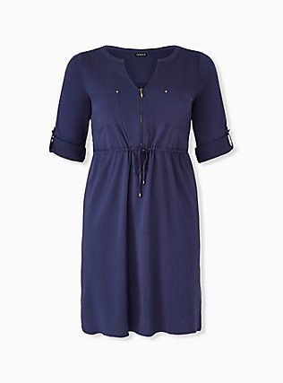 Plus Size Navy Drawstring Challis Shirt Dress, PEACOAT, hi-res