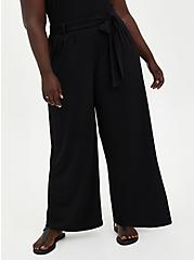 Black Studio Knit Tie Front Wide Leg Pant, DEEP BLACK, hi-res