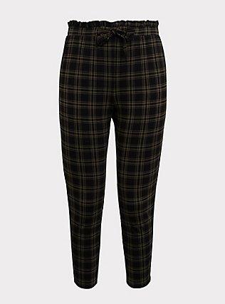Premium Ponte Tie-Front Cigarette Pant - Olive Green & Black Plaid, , flat
