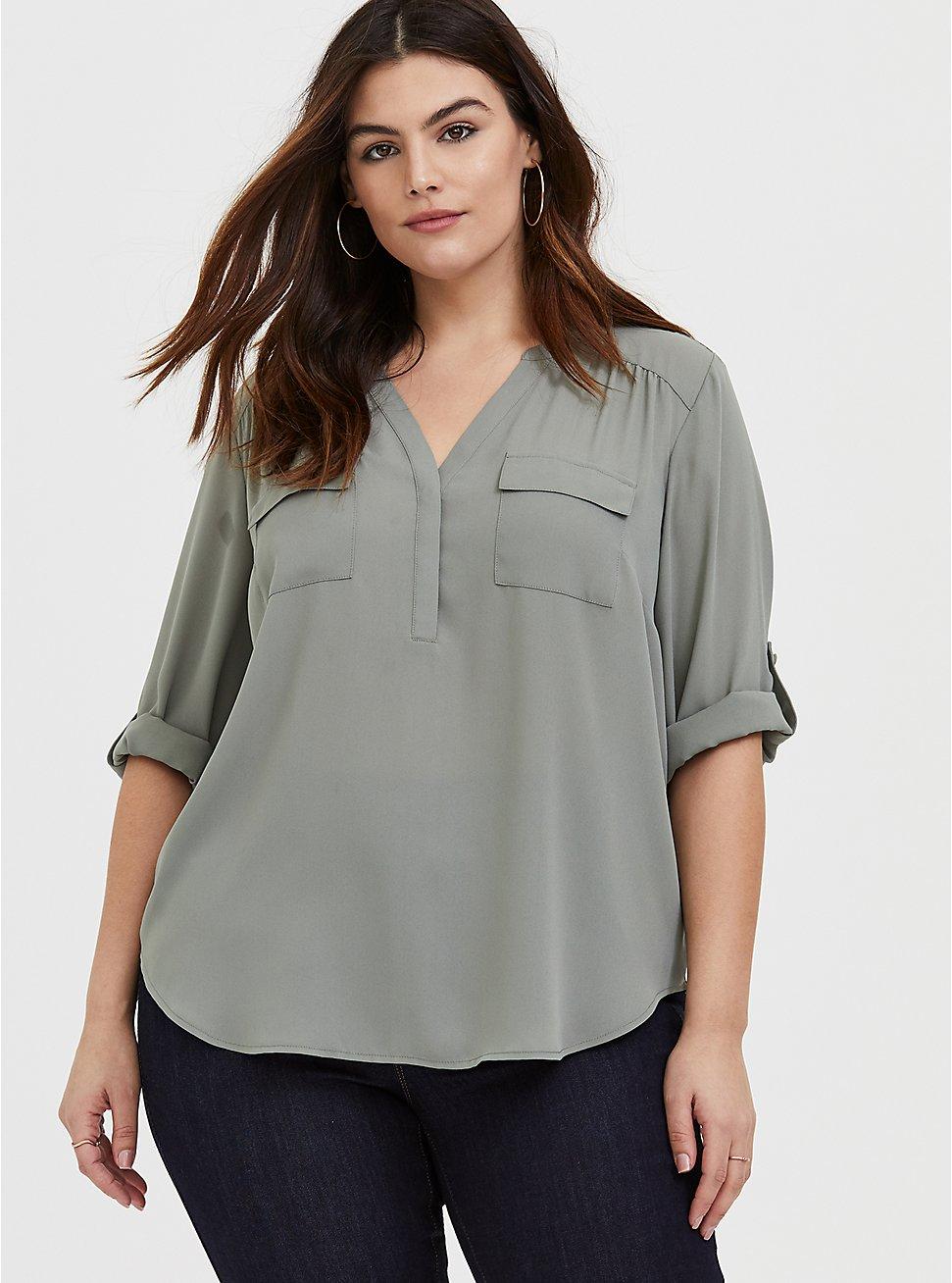 Harper – Sage Green Georgette Pullover Blouse, MOON MIST, hi-res