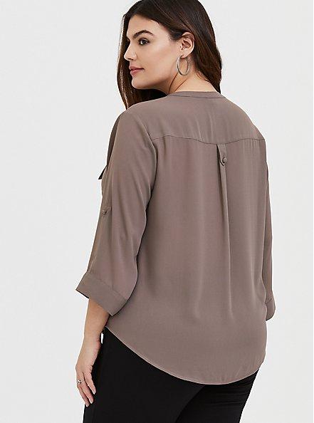 Harper - Dark Taupe Georgette Pullover Blouse, IRON, alternate