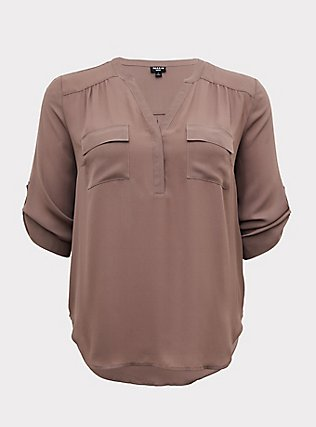 Harper - Dark Taupe Georgette Pullover Blouse, IRON, flat
