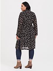Black Leopard Chiffon Slit Trench Coat, , alternate