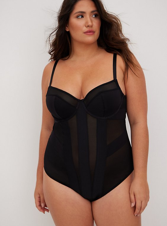 Black Mesh Strappy Bodysuit, RICH BLACK, hi-res