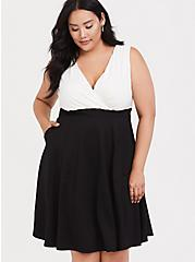 White Black Jersey & Ponte Skater Dress, CLOUD DANCER, alternate
