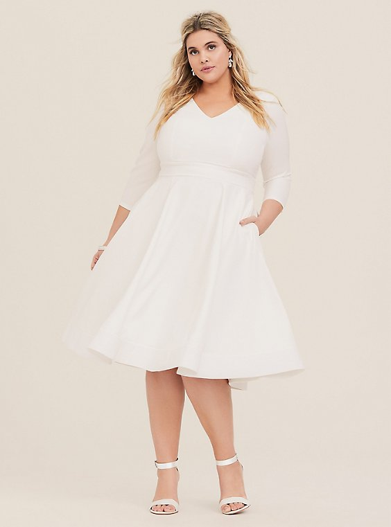Plus Size Special Occasion Ivory Fit & Flare Dress, , hi-res
