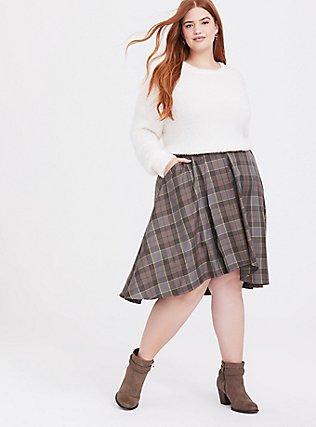 Outlander Fraser Tartan Plaid Wrap Midi Skirt, MULTI, hi-res