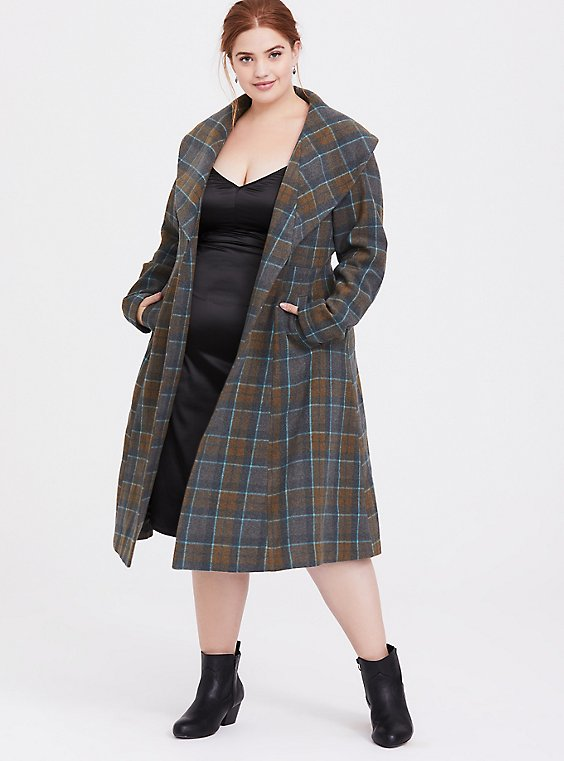 Outlander Mackenzie Tartan Plaid Woolen Fit & Flare Coat, , hi-res