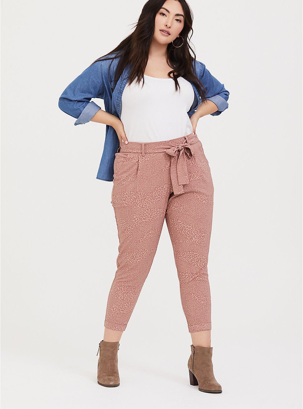 Plus Size Dusty Pink Leopard Tie-Front Tapered Pant, , hi-res