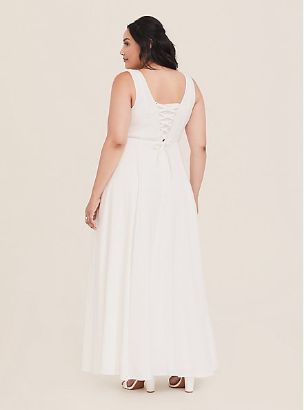 Plus Size Special Occasion Ivory Jacquard Sweetheart Gown, CLOUD DANCER, hi-res