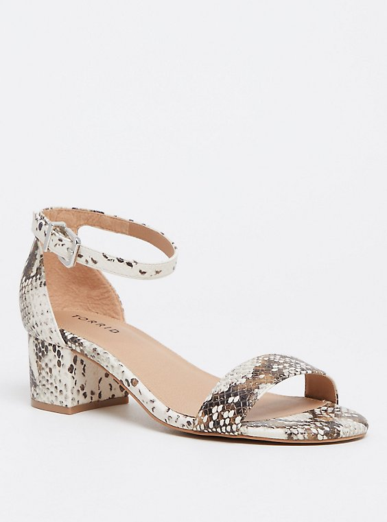Snakeskin Print Faux Leather Ankle Strap Sandal (WW), , hi-res