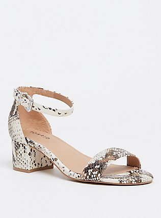 Snakeskin Print Faux Leather Ankle Strap Sandal (WW), ANIMAL, hi-res