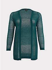 Green Pointelle Open Cardigan, BOTANICAL GARDEN, hi-res
