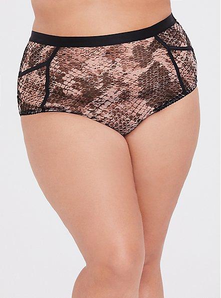 Snakeskin Print Mesh High-Waist Panty, , hi-res