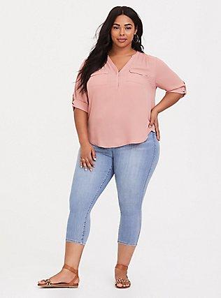 Harper - Dusty Pink Georgette Pullover Blouse, PINK ASH, alternate